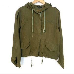 Brandy Melville Hailey Army Green Hooded Jacket C9